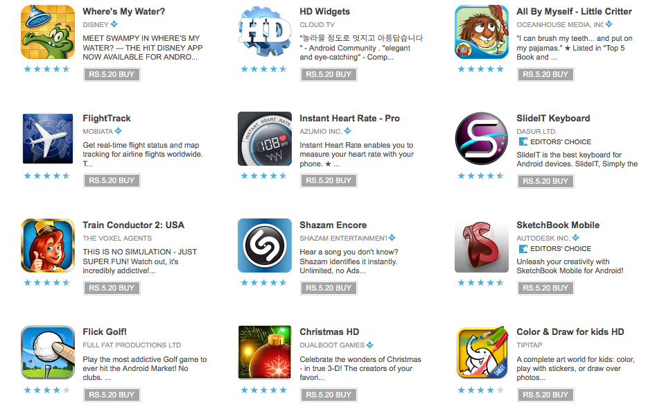 Today's Apps at Android Market 10 Billion Celebration